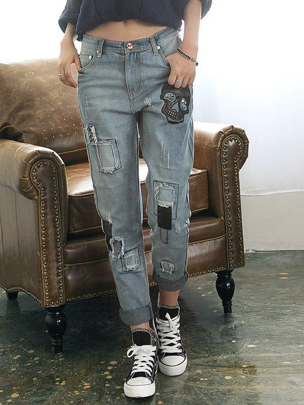 Loose Ripped Skull Patched Jeans - BLUE GRAY M