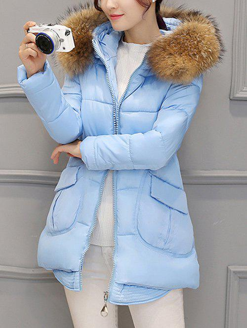 Pocket Padded Coat with Furry Hood - AZURE 2XL