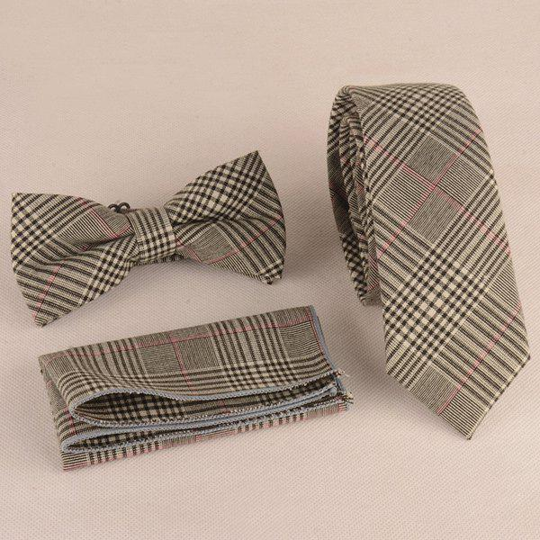 Formal Plaid Print Tie Pocket Square and Bow Tie - GRAY