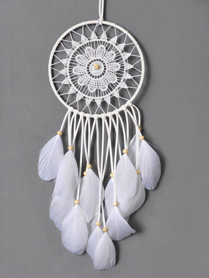 Circular Net Lace Feathers Dreamcatcher Multipurpose Keyring - WHITE