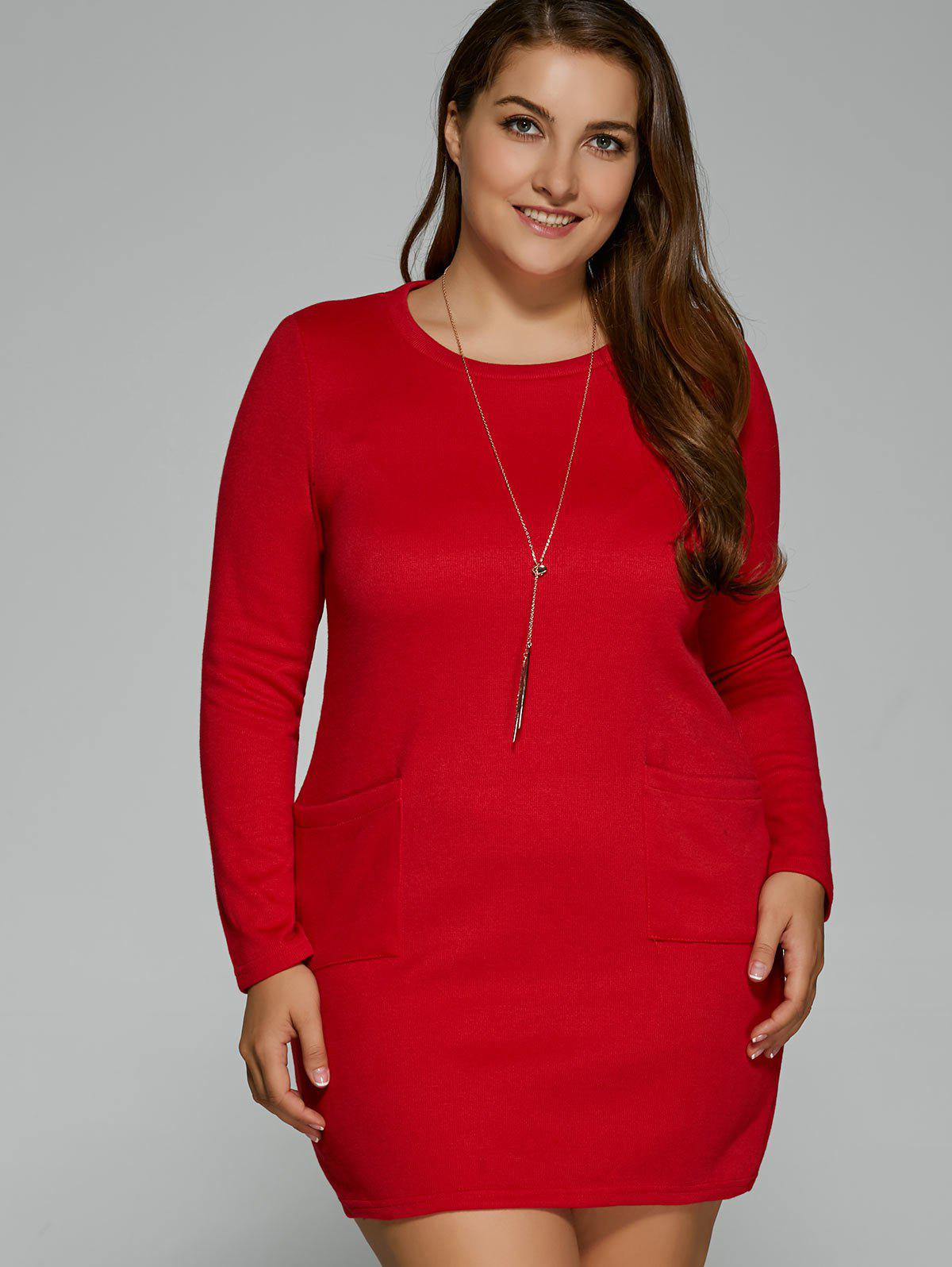 Plus Size Pockets Design Mini Dress - RED 2XL
