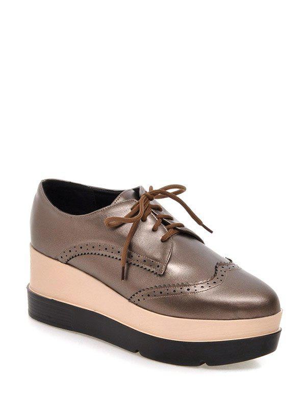 Platform Engraving Lace-Up Wedge Shoes - GUN METAL 38