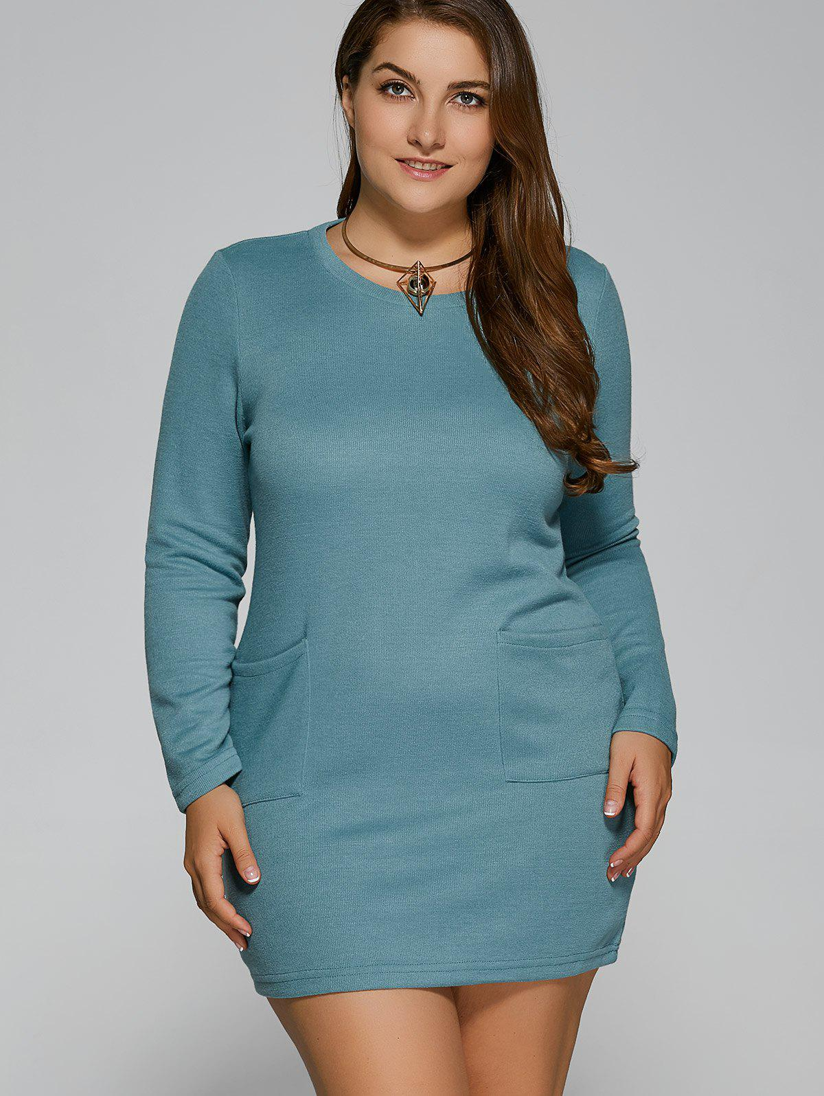 Plus Size Pockets Design Mini Dress - LIGHT BLUE L