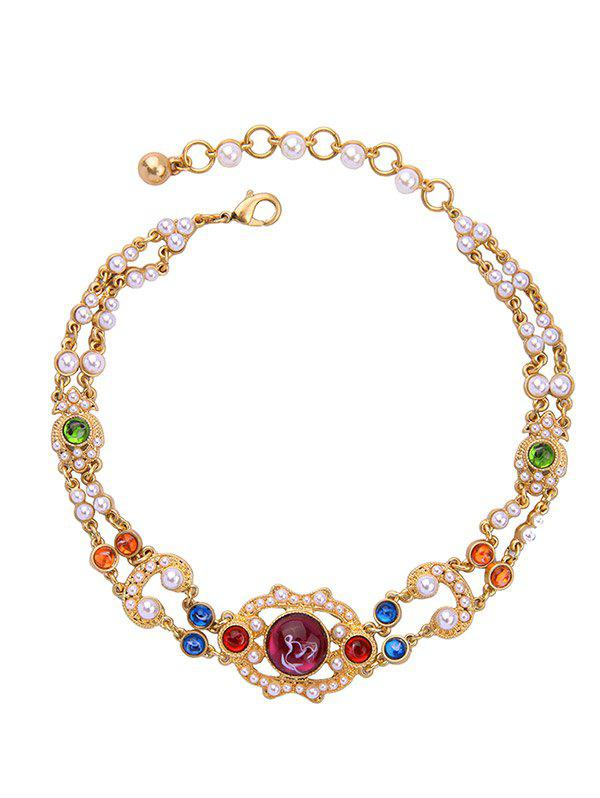 Vintage Artificial Pearl Gem Beads NecklaceJewelry<br><br><br>Color: GOLDEN