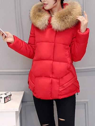 Slim Faux Fur Collar Puffer Jacket - RED XL