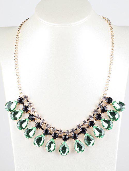Rhinestone Faux Emerald Teardrop Necklace - LIGHT GREEN