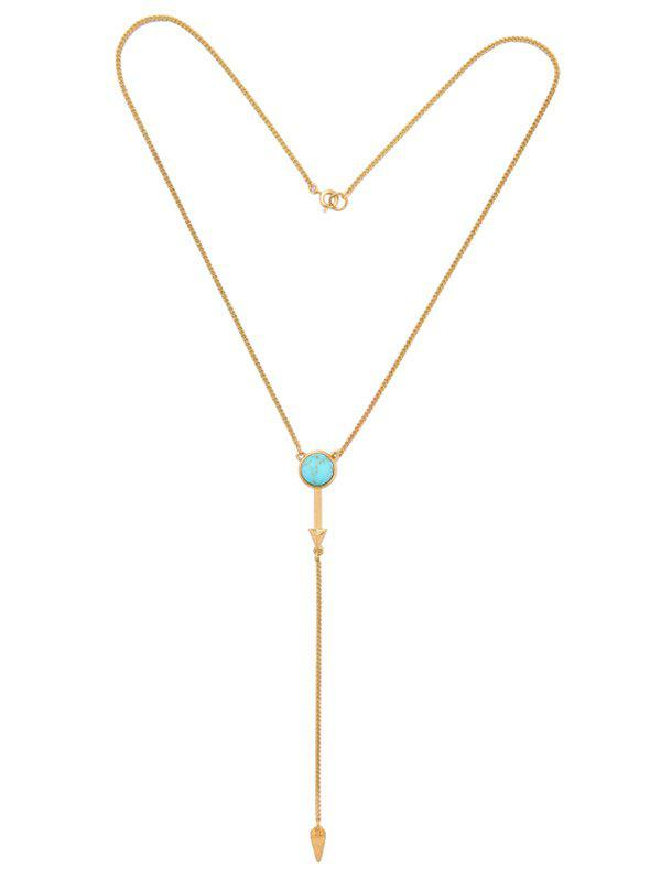 Faux Turquoise Circle Geometric Pendant Necklace faux opal geometric earrings