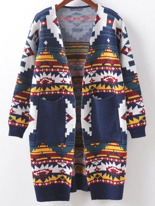 Buttonless Argyle Cocoon Cardigan - CADETBLUE ONE SIZE