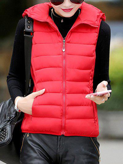 Hooded Puffer Waistcoat - RED L