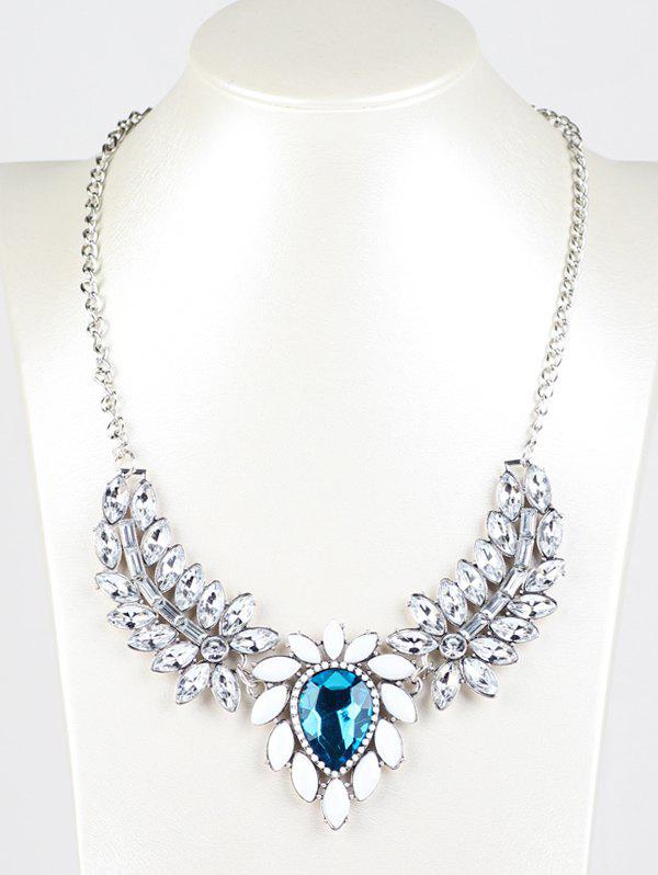 Faux Crystal Wings Pendant Necklace - BLUE