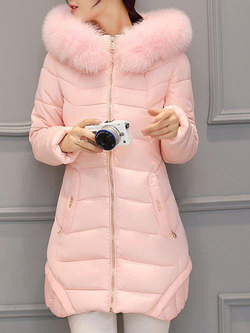 Asymmetrical Hooded Padded Coat - PINK M