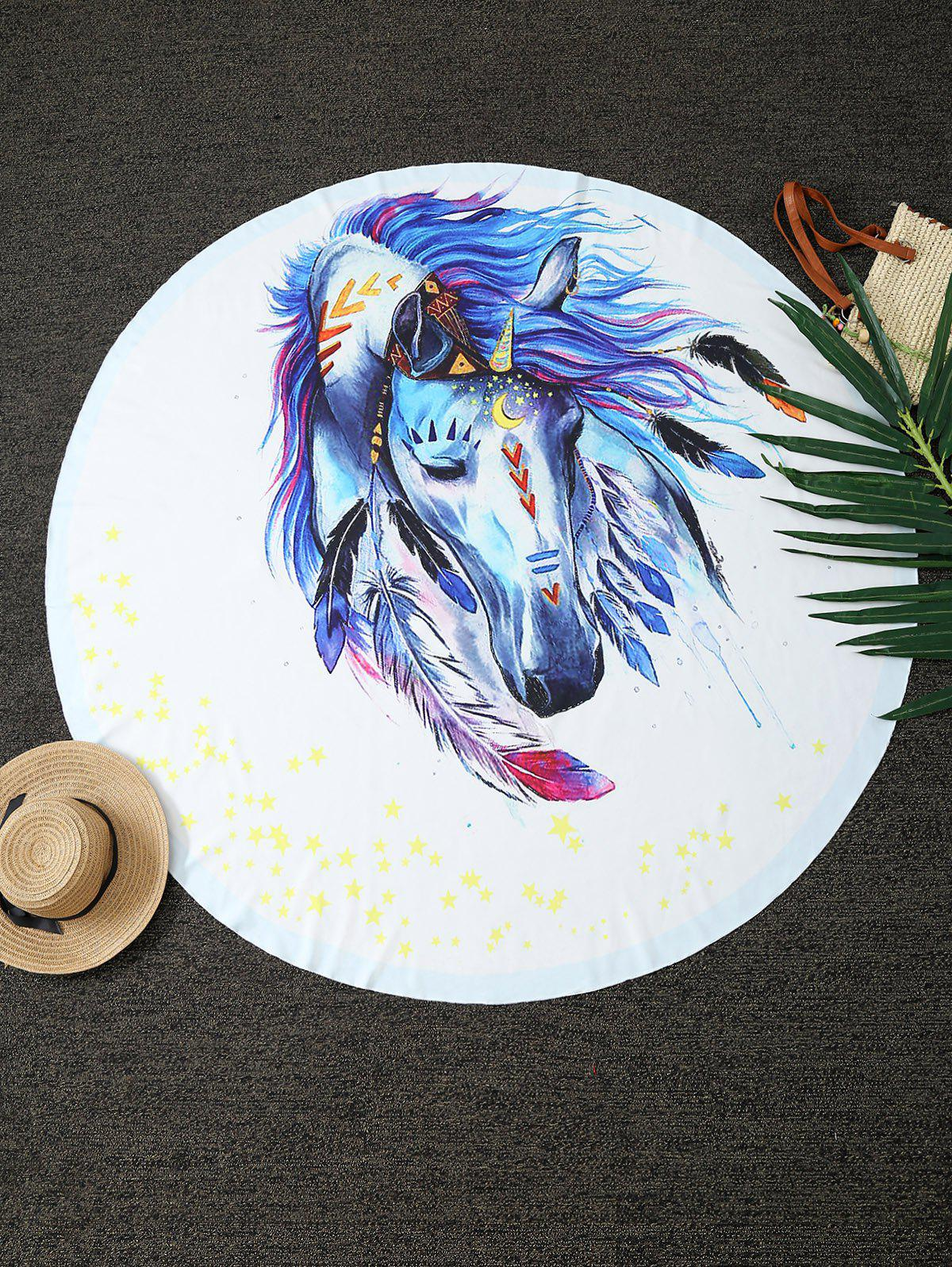 Comfy Dreamlike Horse Print Round Throw Blanket - WHITE ONE SIZE(FIT SIZE XS TO M)