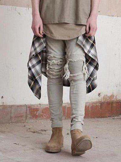 Mid-Rise Pintuck Knee Patch Frayed Narrow Feet Jeans pintuck knee patch frayed mid rise narrow feet jeans