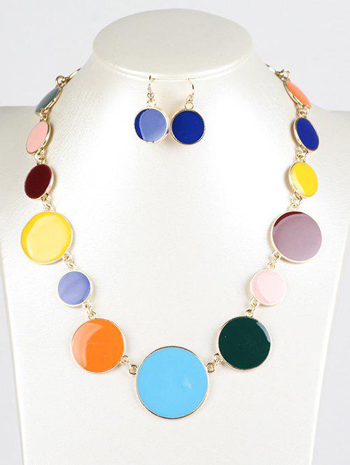 Faux Gem Round Jewelry Set - COLORMIX