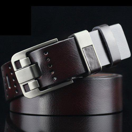 Retro Pin Buckle PU Geometric Emboss Belt - COFFEE