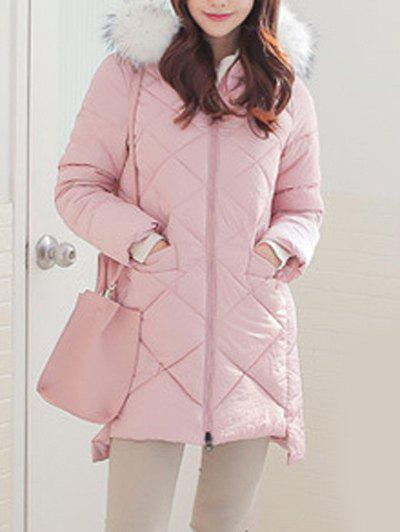 High Low Hooded Quilted Coat kids high low rabbit hooded coat