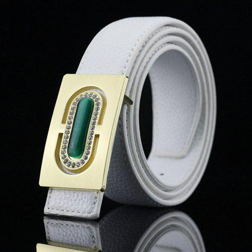 Casual Rectangle Boucle PU strass Ceinture Emboss - Blanc