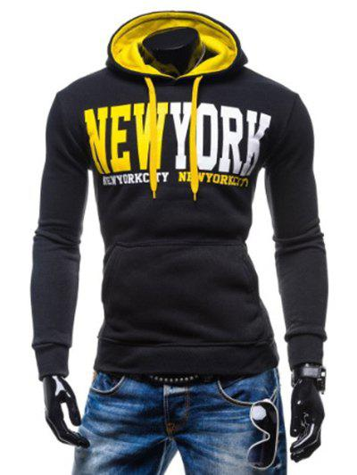 Kangaroo Pocket de New York Impression Sweat à capuche - Jaune et Noir L