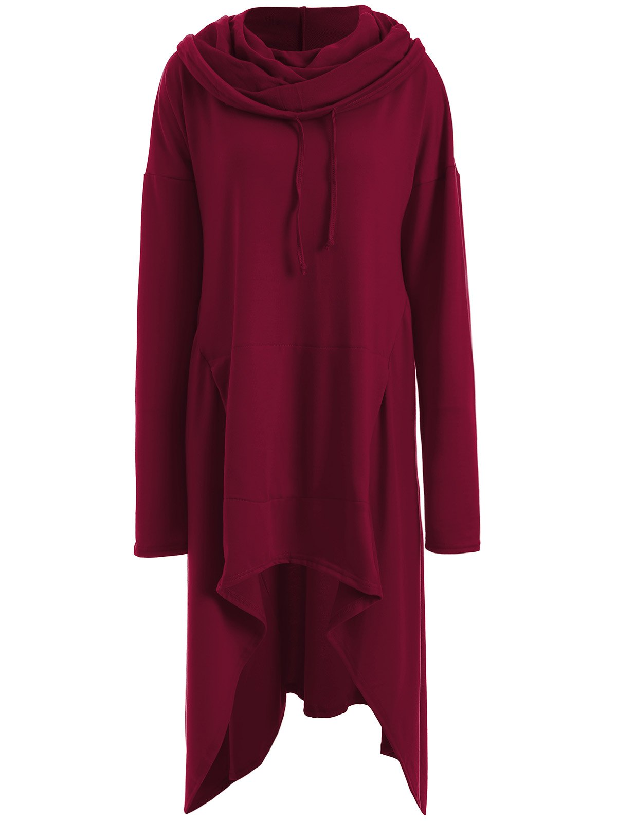 Asymmetrical Pocket Design Loose-Fitting Neck Hoodie - WINE RED M