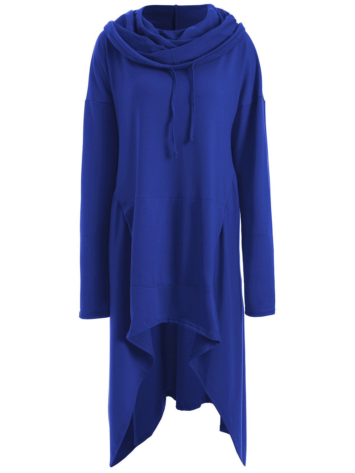 Asymmetrical Pocket Design Loose-Fitting Neck Hoodie - BLUE M