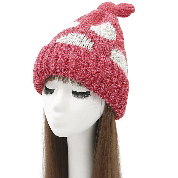 Cute Knot Top Flanging Dot Print Knitted Beanie geo print knot hem top