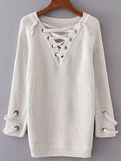 V Neck Lace Up Long Sweater - CRYSTAL CREAM ONE SIZE