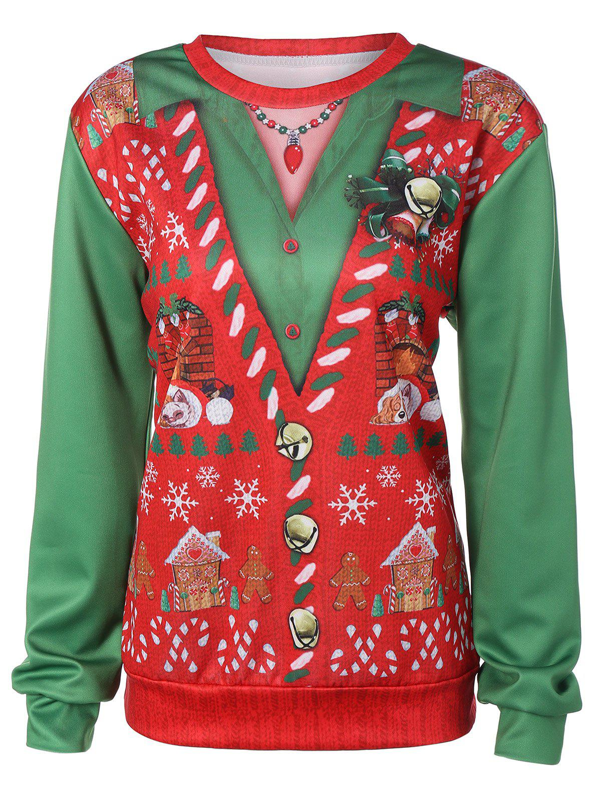 Pullover Christmas Pattern 3D Print Sweatshirt - RED/GREEN ONE SIZE