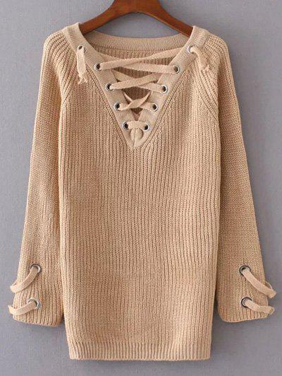 V Neck Lace Up Long Sweater - APRICOT ONE SIZE