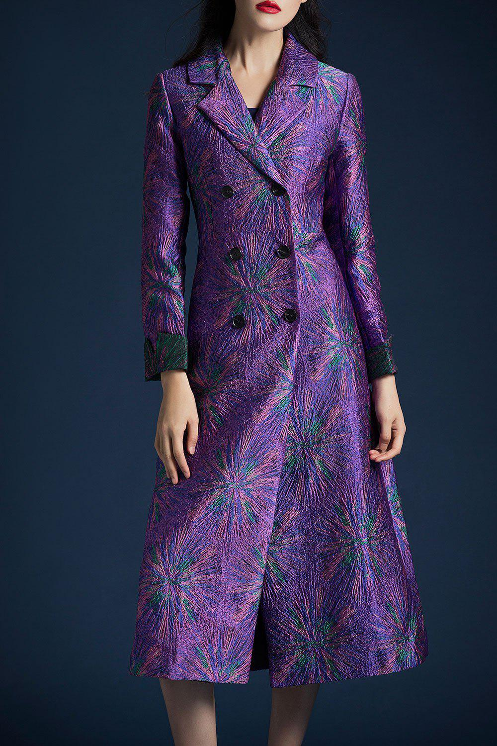 A Line Jacquard Midi CoatWomen<br><br><br>Size: 3XL<br>Color: PURPLE