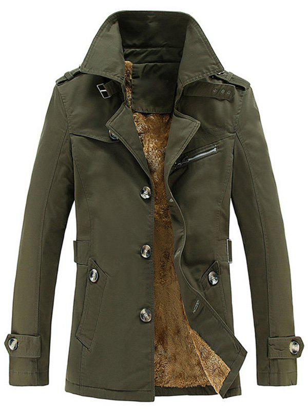 Zip Embellished Turn-Down Collar Single-Breasted Fleece Coat - ARMY GREEN M