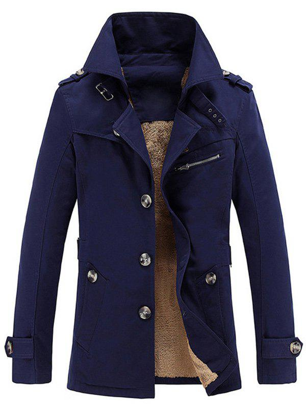 Zip Embellished Turn-Down Collar Single-Breasted Fleece Coat - DEEP BLUE 3XL