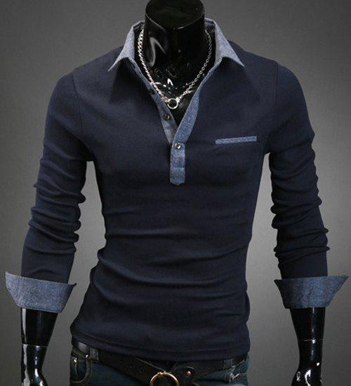 Turn-Down Collar Denim Spliced Design Long Sleeve Men's Shirt