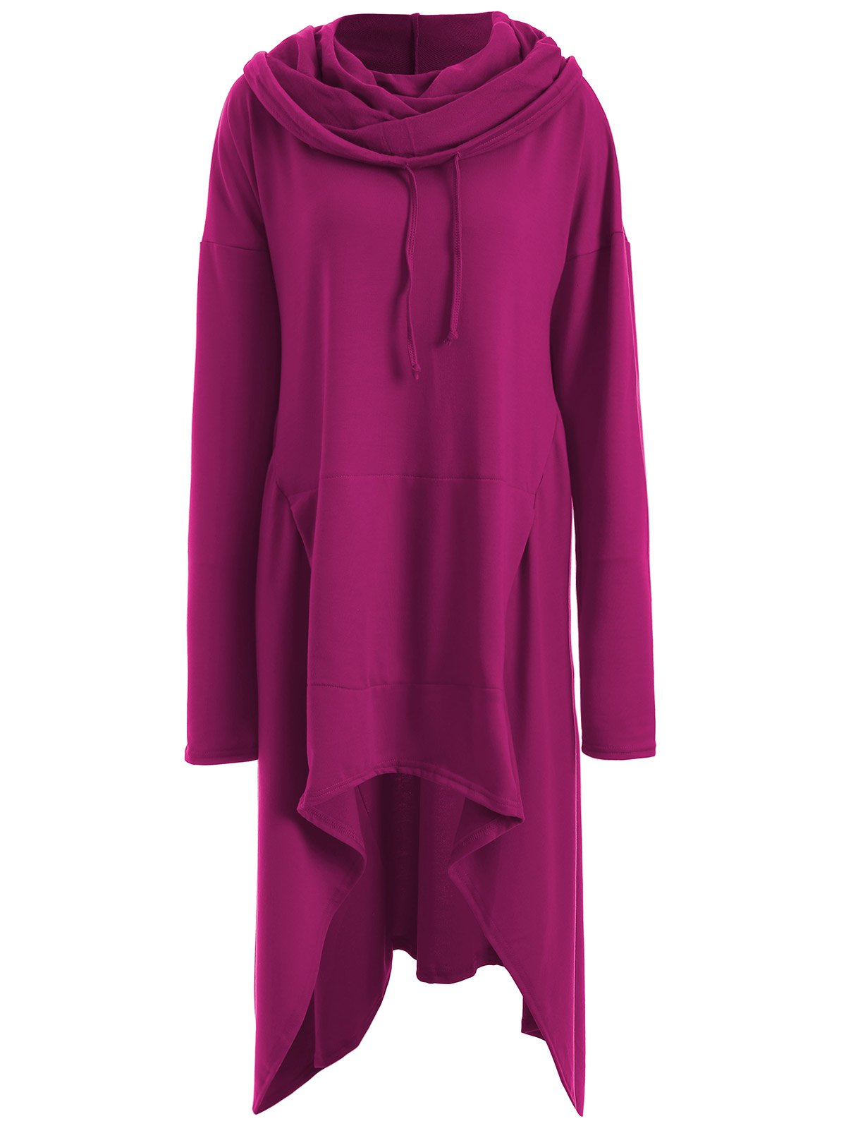 Asymmetrical Pocket Design Loose-Fitting Neck Hoodie - RED VIOLET M
