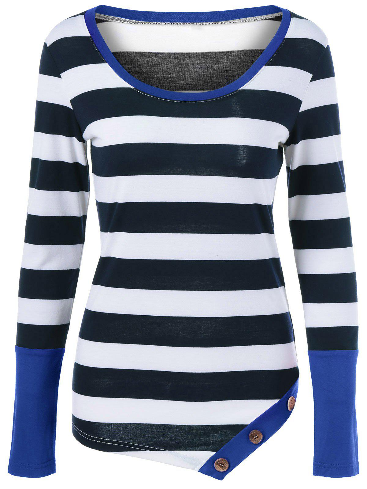 Button Embellished Asymmetric Long Sleeve Striped T-Shirt button embellished long sleeve striped t shirt