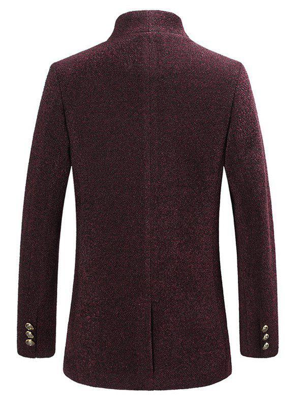 Single Breasted Textured Rough Wool Mix Coat - WINE RED XL
