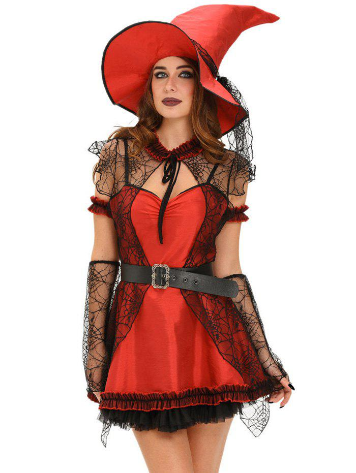 Lace Splicing Witch Halloween Cosplay Dress - RED S
