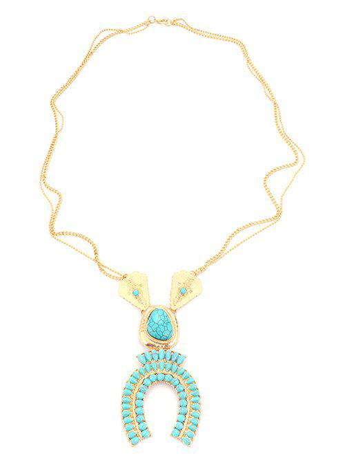 Bohemian Style Faux Turquoise Sweater ChainJewelry<br><br><br>Color: GOLDEN
