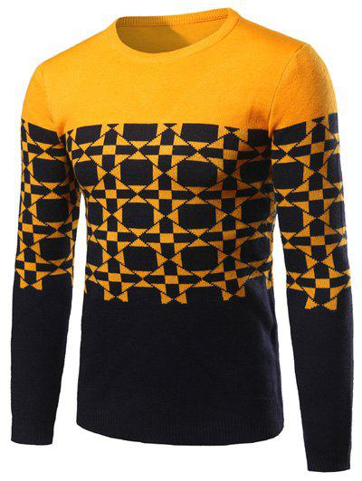 Contrast Color Geometric Pattern Crew Neck SweaterMen<br><br><br>Size: L<br>Color: YELLOW
