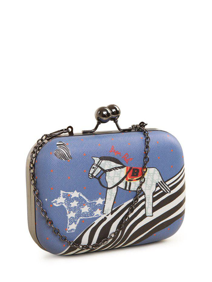 Cartoon Horse Print Kiss Lock Evening Bag - BLUE