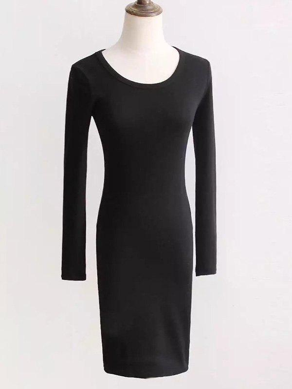 Long Sleeve Fit Dress - BLACK ONE SIZE