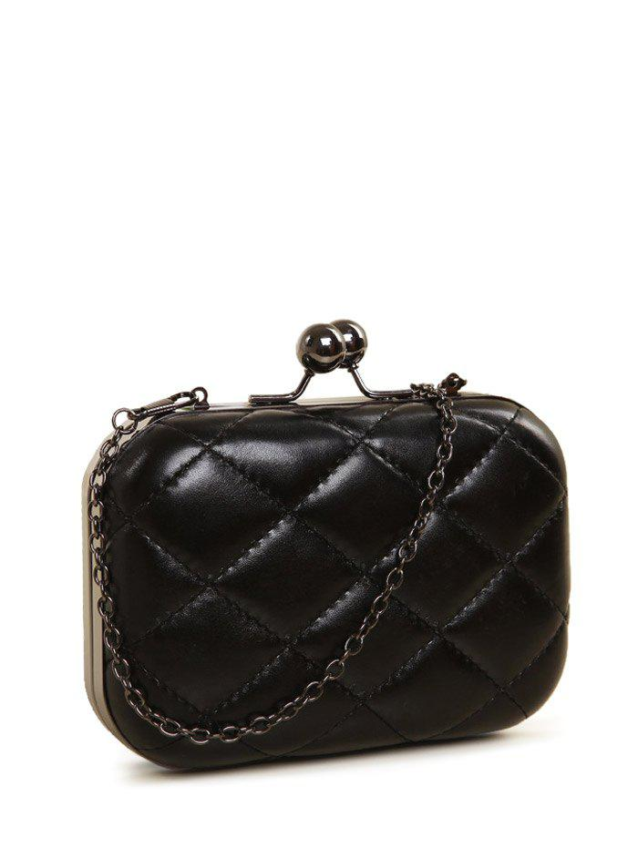 Kiss Lock Quilted PU Leather Evenig Bag - BLACK