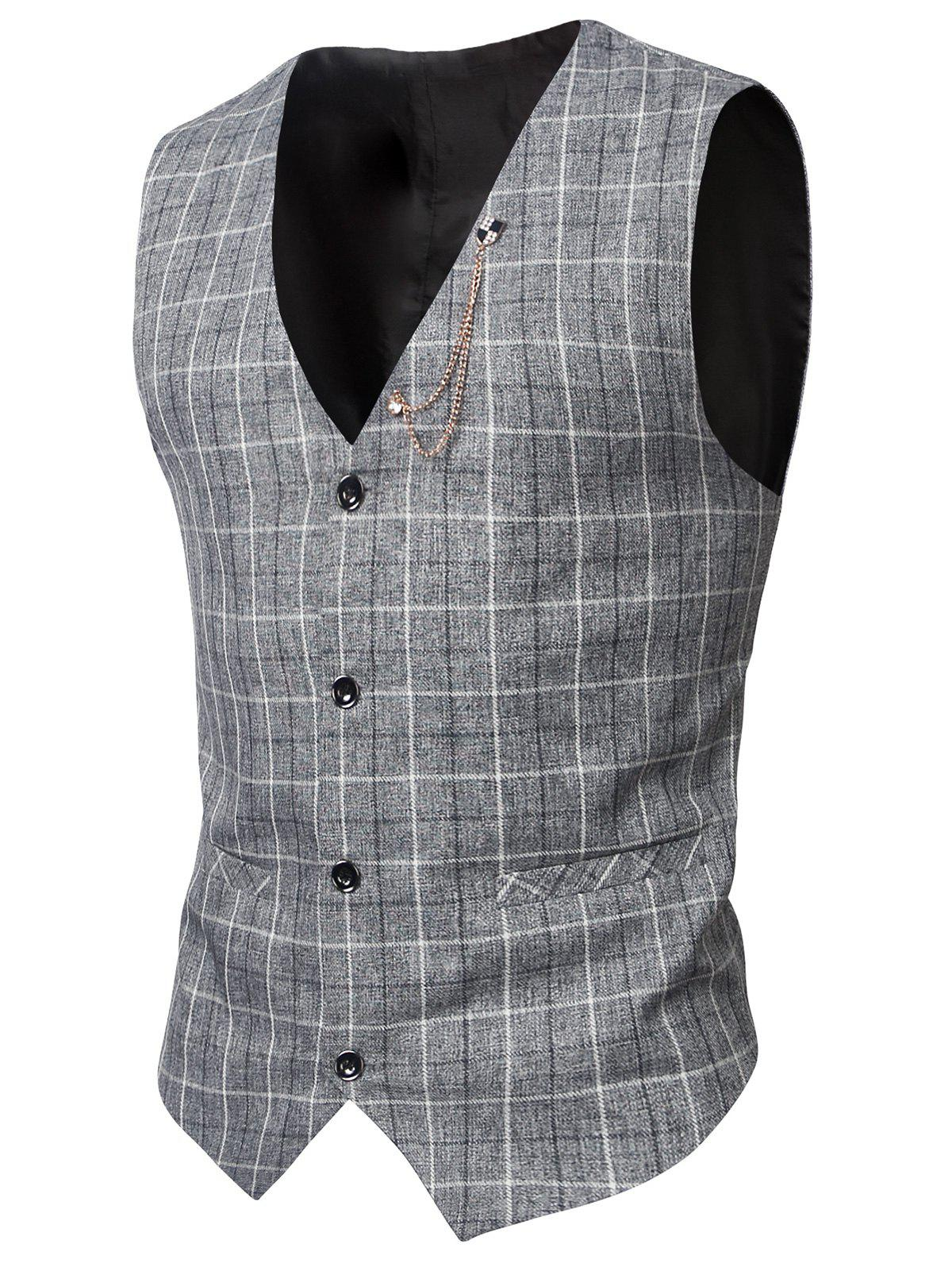 V-Neck Single-Breasted Checked Pattern WaistcoatMen<br><br><br>Size: 3XL<br>Color: LIGHT GRAY
