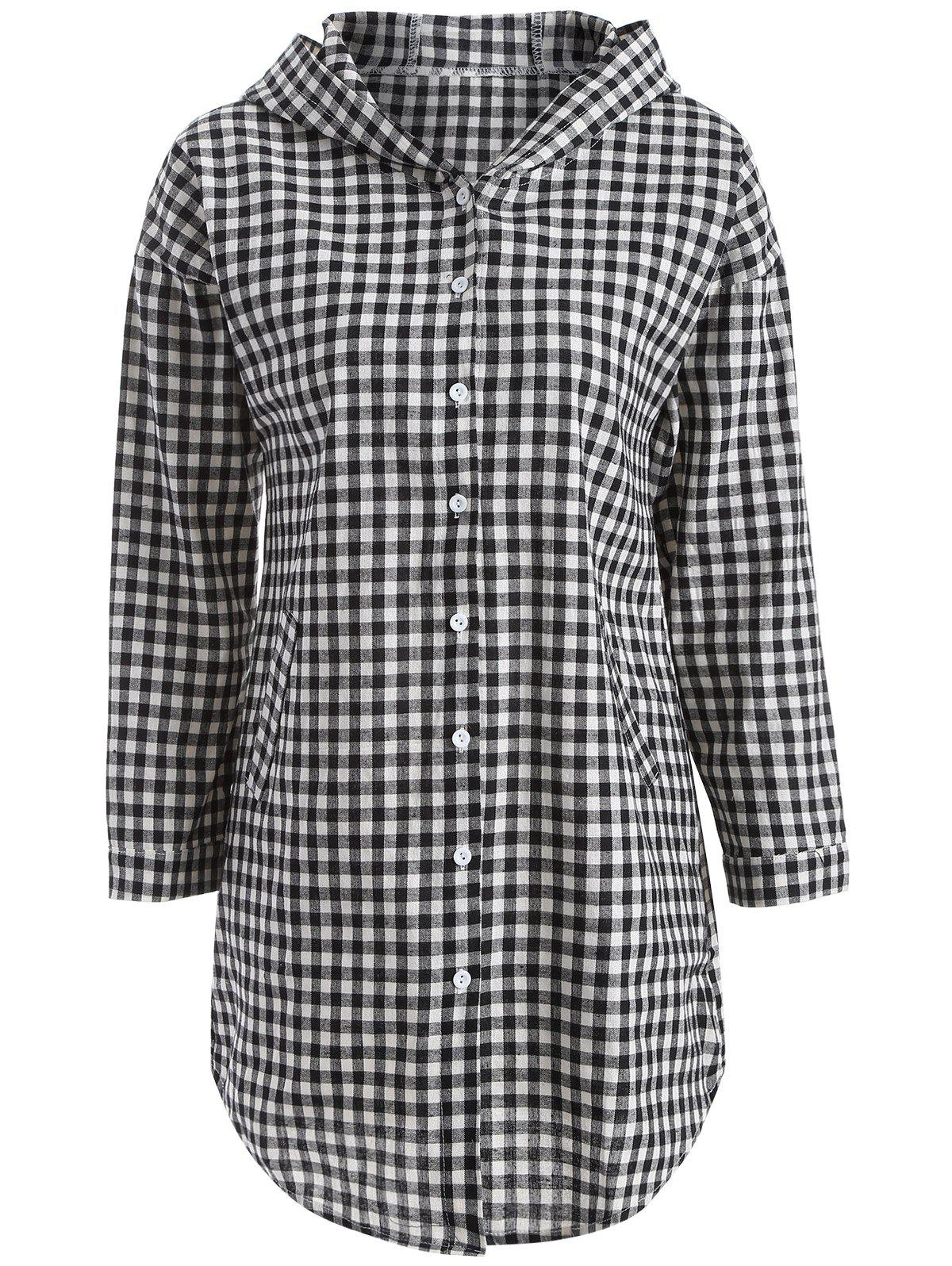 Hooded Button-Down Plaid BlouseWomen<br><br><br>Size: 2XL<br>Color: CHECKED