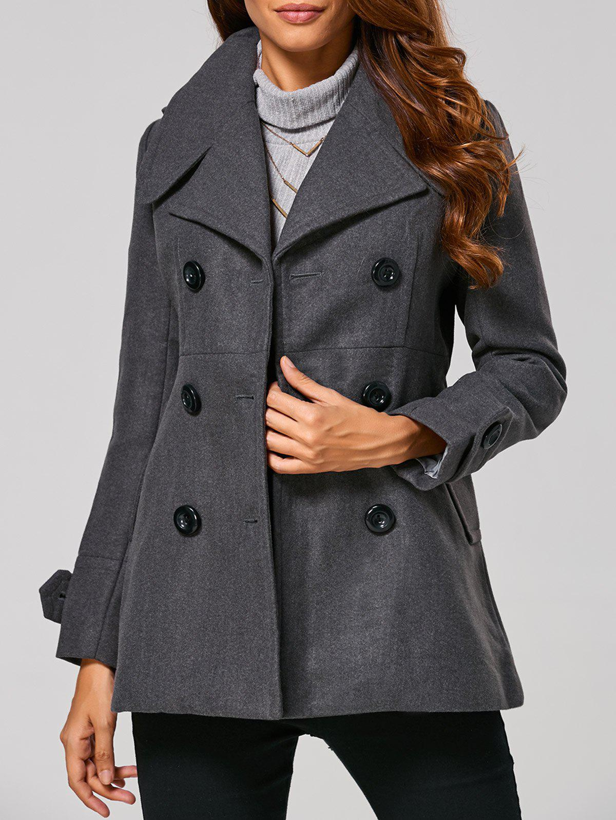 Fitting Woolen Pea CoatWomen<br><br><br>Size: XL<br>Color: GRAY