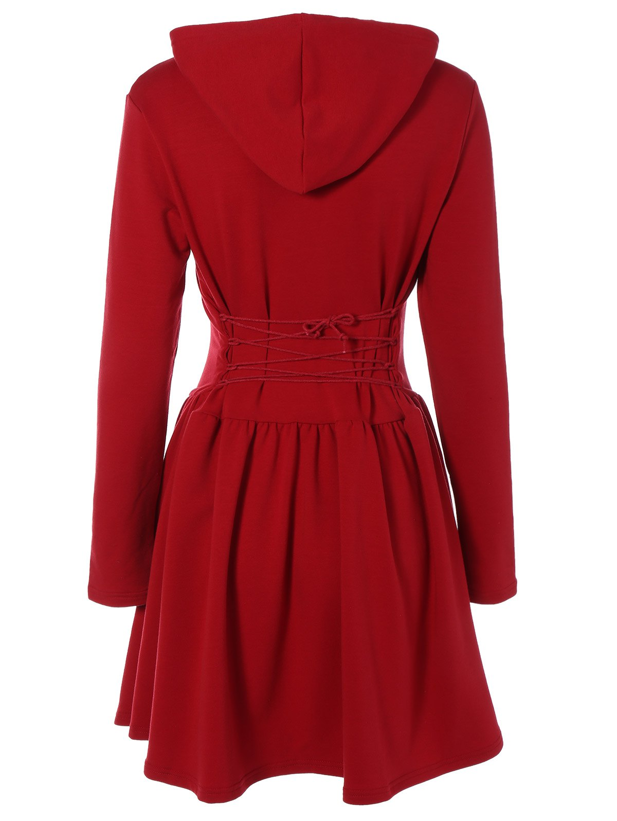 Hooded Long Sleeve Dress with Criss Cross - WINE RED XL