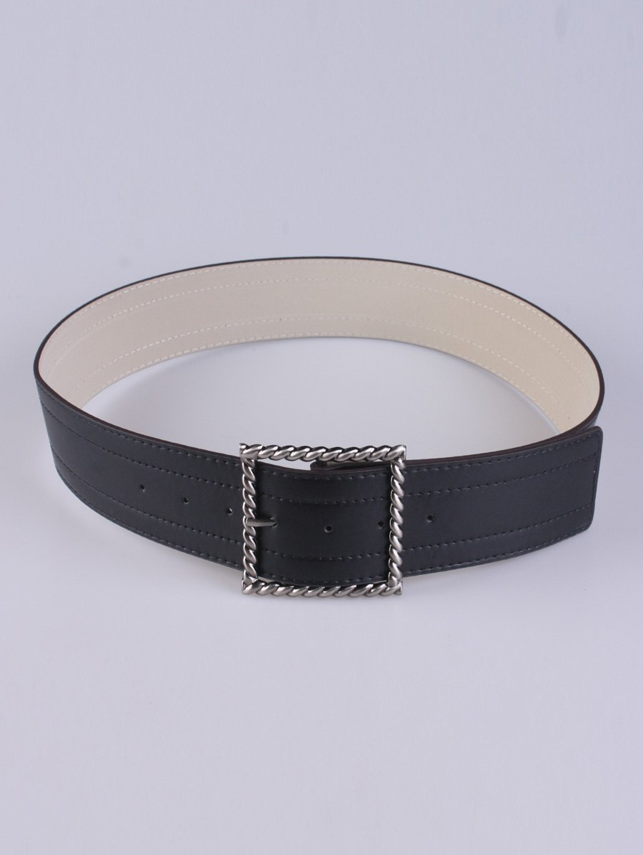 Coat Wear Hollow Twist Square Pin Buckle Belt, Black