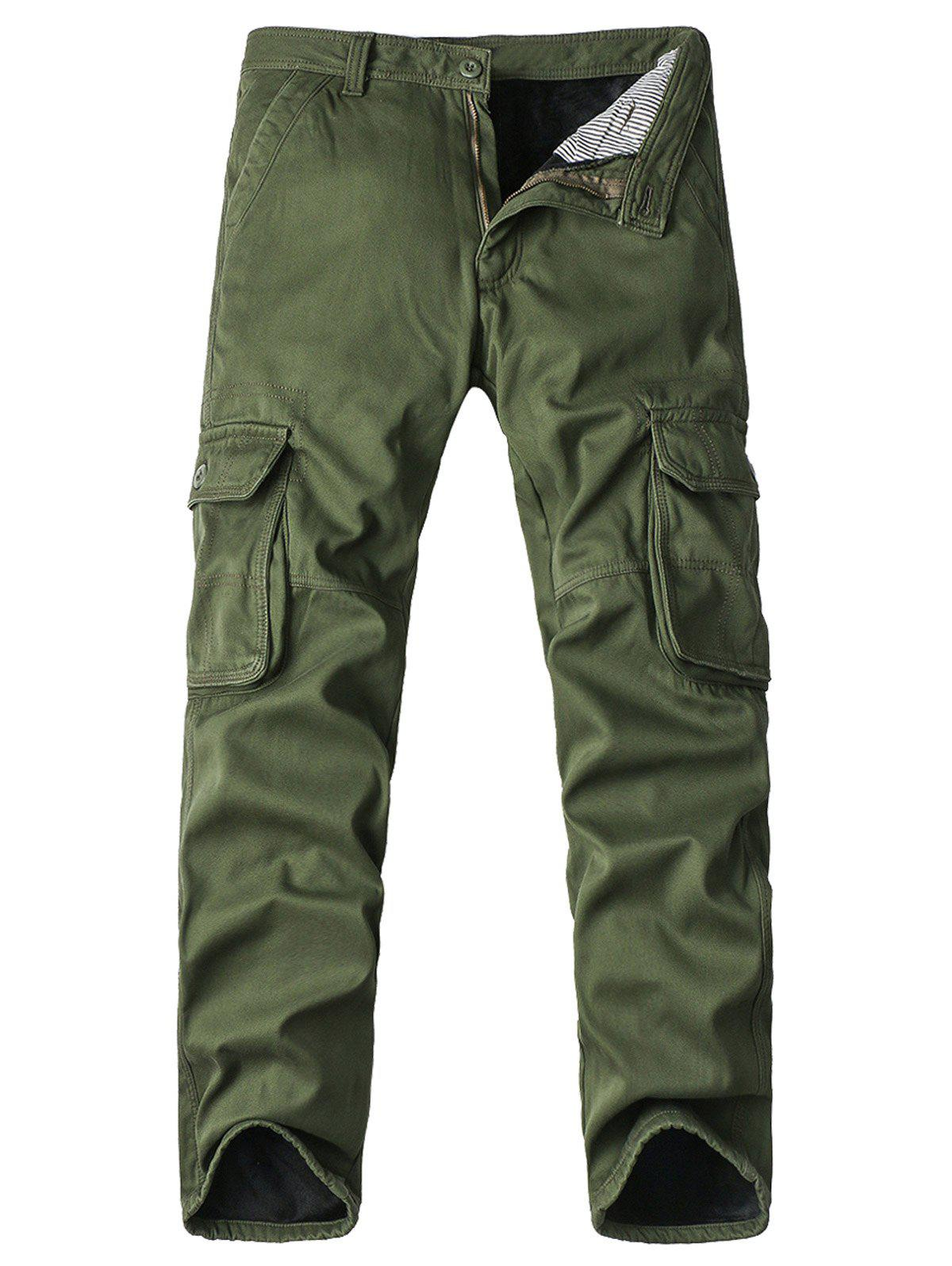 Zipper Fly Straight Leg Pockets Embellished Fleece Cargo Pants стойка для клавишных ultimate js mps1