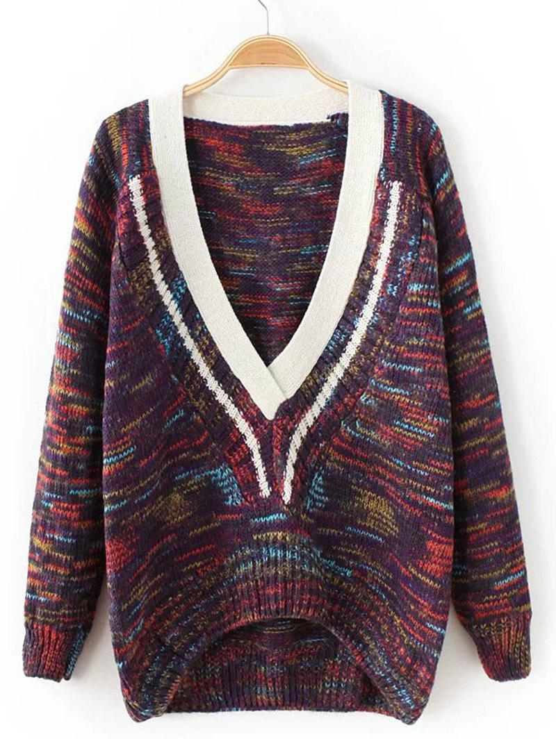 Heater Loose Plunge Neck Sweater - RED VIOLET ONE SIZE
