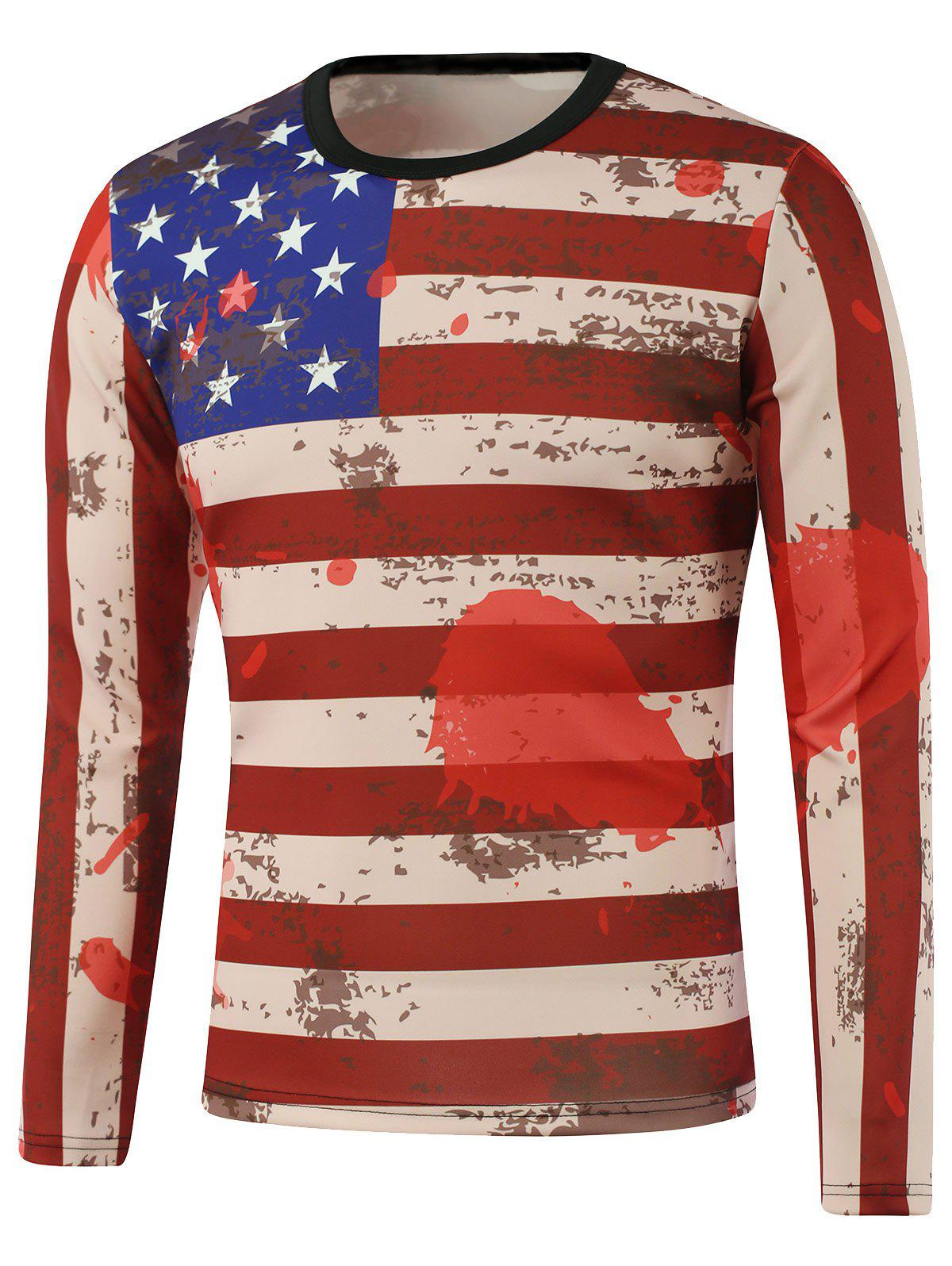 Drapeau américain Splash-Ink Print long Sleeve Sweatshirt - Rouge L