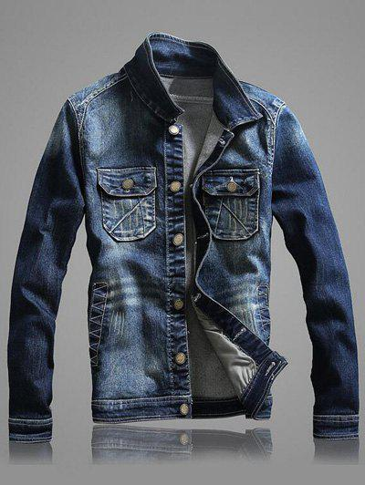 À manches longues Multi-Pocket Bleach Wash Denim Jacket - Bleu 2XL